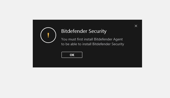 Sửa lỗi Bitdefender 2018 báo lỗi: You must first install bitdefender agent to be able to install Bitdefender Security