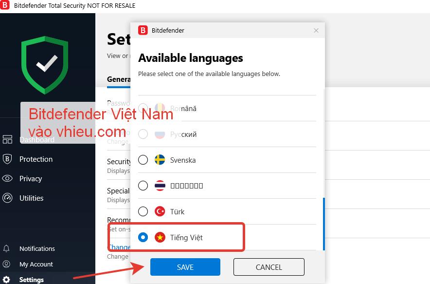 Hướng dẫn cách thay đổi ngôn ngữ trong Bitdefender 2019